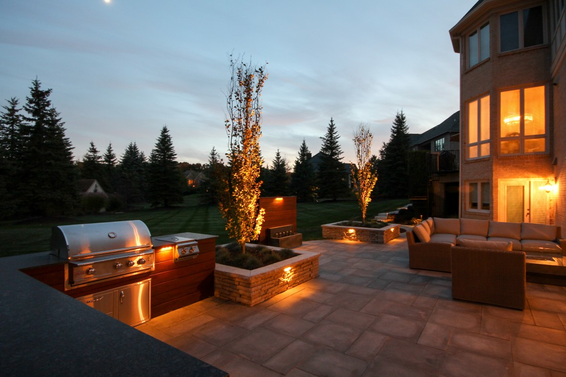 Landscaping Design Ann Arbor MI - Landscaper Services Brighton, Plymouth, Saline MI | Treasured Earth - northville-yard-beech-lighting